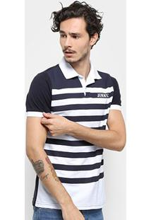 Camisa Polo Jimmy'Z Listrada Masculina - Masculino-Marinho