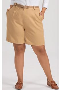 Bermuda Feminina Plus Size De Linho Caqui Zenita