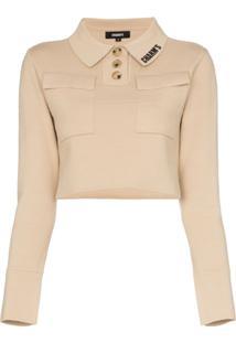 Charm'S Camisa Polo Cropped Com Estampa De Logo - Neutro