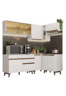 Cozinha Completa De Canto Madesa Reims 332002 Com Armário E Balcão Branco Cor:Branco
