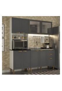 Cozinha Completa 3 Peças Americana Multimóveis 5905 Branco/Grafite