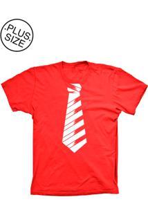 Camiseta Lu Geek Plus Size Gravata Social Vermelho