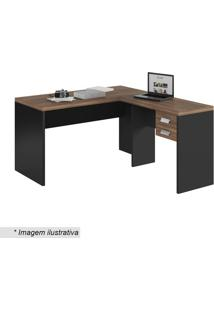 Mesa Studio Em L- Argan & Preta- 75X150X136Cm- Ccaemmun