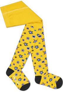 Meia Calça Estrelas- Amarela & Pretahappy Socks