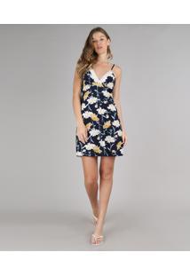 Camisola Feminina Estampada Floral Com Renda Alças Finas Azul Marinho