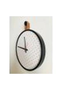 Relógio Short Strip Preto Alça Caramelo Mostrador Branco Perfurado 40 Cm