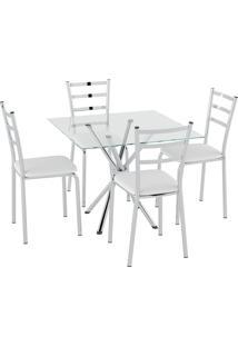 Conjunto Mesa Tampo Vidro C/ 4 Cadeiras Vinil Branco/Cromado Pozza