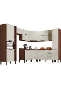 Cozinha Modulada Completa 12 Peças Viv Concept C11 Off White/Nogueira