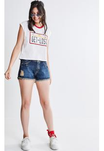 Short Jeans Com Bordado Interno
