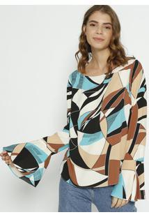 Blusa Geomã©Trica - Marrom Claro & Verdemoisele