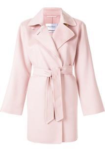 Max Mara Trench Coat Com Amarração - Rosa