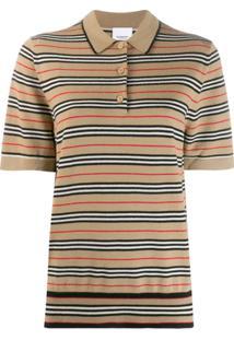 Burberry Camisa Polo Listrada - Marrom