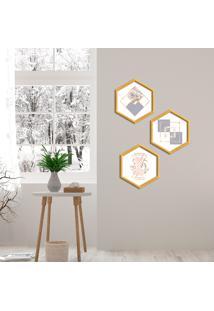 Kit 3 Quadros Com Moldura Hexagonal Geomètricos