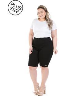 Bermuda Plus Size - Confidencial Extra Jeans Com Elastano E Zíper Lateral - Tricae