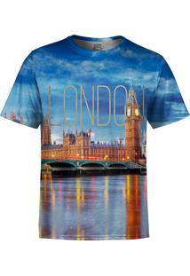 Camiseta Estampada Over Fame Londres Azul