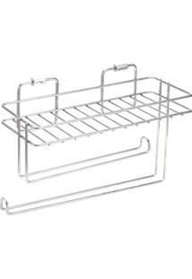 Aéreo Multiuso Flat Porta Condimentos E Rolos Em Inox