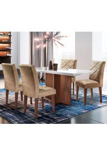 Conjunto De Mesa Com 4 Cadeiras Berlim-Rufato - Animalle Chocolate / Off White / Café