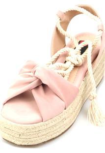 Anabela Espadrille Love Shoes Plataforma Corda Amarrar Rosa