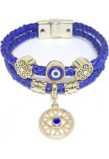 Pulseira Couro Alice Monteiro Trançada Olho Grego Feminina - Feminino-Azul