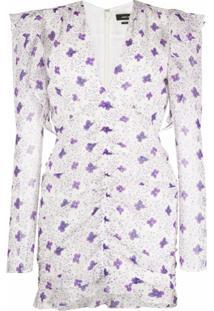 Isabel Marant Vestido Franzido Com Estampa Floral - Branco