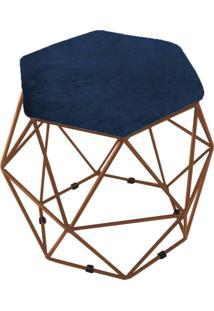 Puff Aramado Bronze Assento Hexagonal Suede Azul Marinho - Ds Móveis
