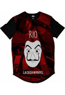 Camiseta Longline Attack Life La Casa De Papel Rio Sublimada Masculina - Masculino-Vermelho