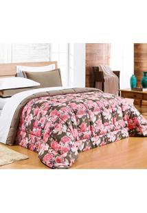 Edredom Casal Queen Safari 01 Peça Estampado Df Malha Penteada - Rosa Floral
