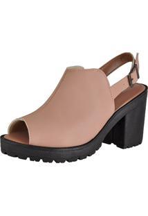 Sandália Oxford Cr Shoes Aberta Confort Nude