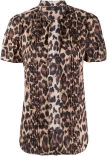Steffen Schraut Leopard Pattern Pleated Blouse - Marrom