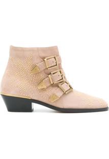 Chloé Ankle Boot 'Susanna' De Camurça - Rosa