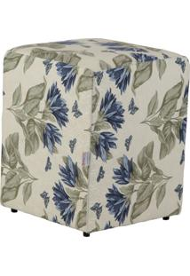 Puff Quadrado Cubo Jacguard Floral Azul I