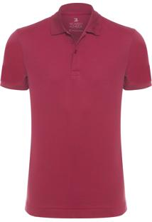 Polo Masculina Oxford - Vinho