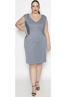 Vestido Listrado Texturizado- Cinza & Azul Marinho- Pianeta