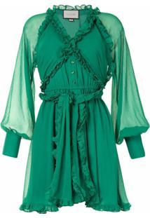 Alexis Vestido Com Acabamento De Babados - Verde