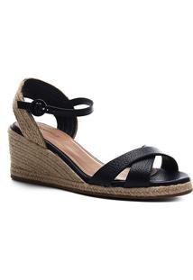 Sandália Shoestock Couro Corda Anabela - Feminino-Marinho