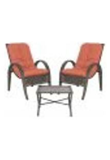 Jogo Cadeiras 2Un E Mesa P/ Jardim Edicula Varanda Descanso Trama Napoli Plus Pedra Ferro A40