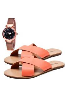 Sandália Elegant Com Relógio Gold Feminina Dubuy 2028La Creme