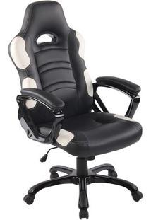 Cadeira Office Flash- Preta & Branca- 126X65X65Cmrivatti