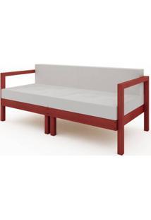 Sofa Componivel Lazy 2 Lugares Estrutura Vermelho + Almofadas 169Cm - 61391 - Sun House