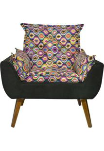 Poltrona Decorativa Kasa Sofá Opala Colorido Preto