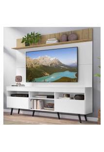 """Rack Com Painel Tv 65"""" Madri Multimóveis Branco/Rustic Com Prateleira E Pés Retrô Preto"""