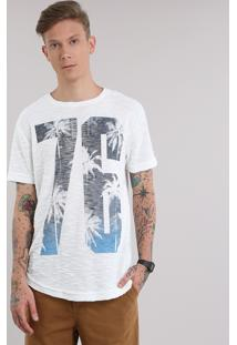 "Camiseta Texturizada ""76"" Off White"