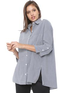 Camisa Colcci Alongada Listrada Azul/Branca