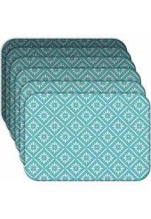 Jogo Americano Love Decor Blue Geometric Kit Com 6 Peças - Kanui