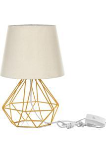 Abajur Diamante Dome Bege Com Aramado Amarelo