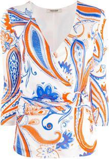Roberto Cavalli Blusa Transpassada Floral - Branco