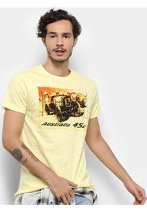 Camiseta Bulldog Fish Old Car Masculina - Masculino-Amarelo