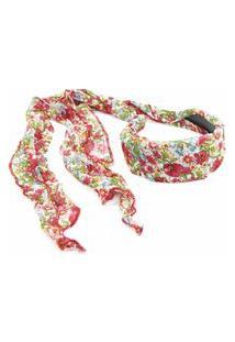 Tiara Floral Bijoulux Branca Com Vermelha