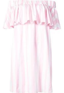 Maison Rabih Kayrouz Striped Off The Shoulder Dress - Rosa