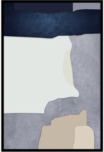 Quadro 75X50Cm Abstrato Geométrico Oriental Malko Moldura Preta Com Vidro